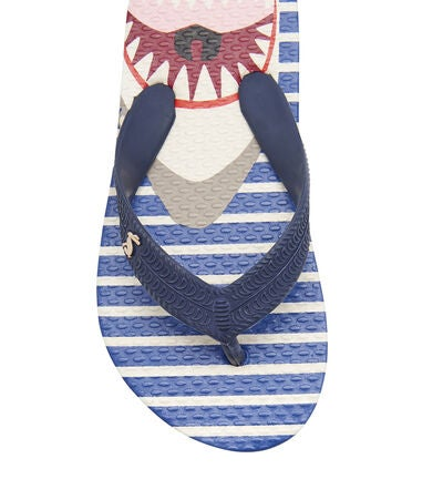 Tom Joule Flip Flops, Blue Shark Stripe