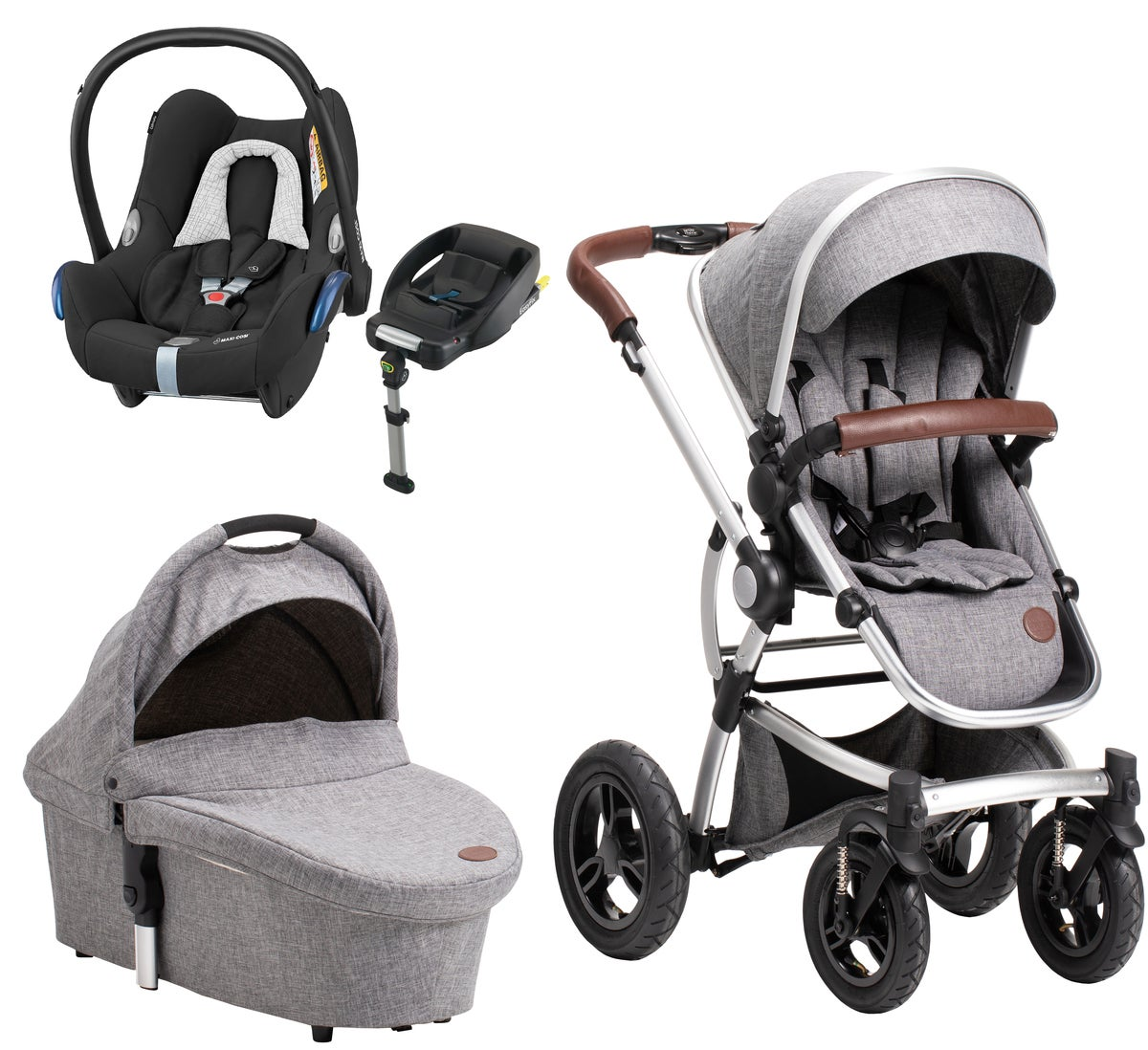 Petite Chérie Lively 2 Duovogn, Grey Melange + Maxi Cosi Travelsystem