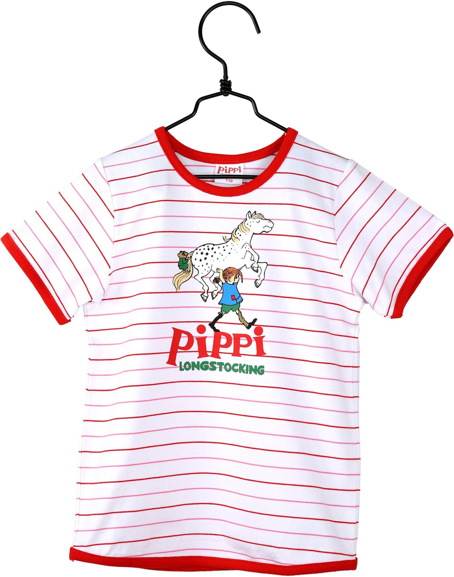 Pippi Langstrømpe Stark T-shirt, Rød/Hvit 116