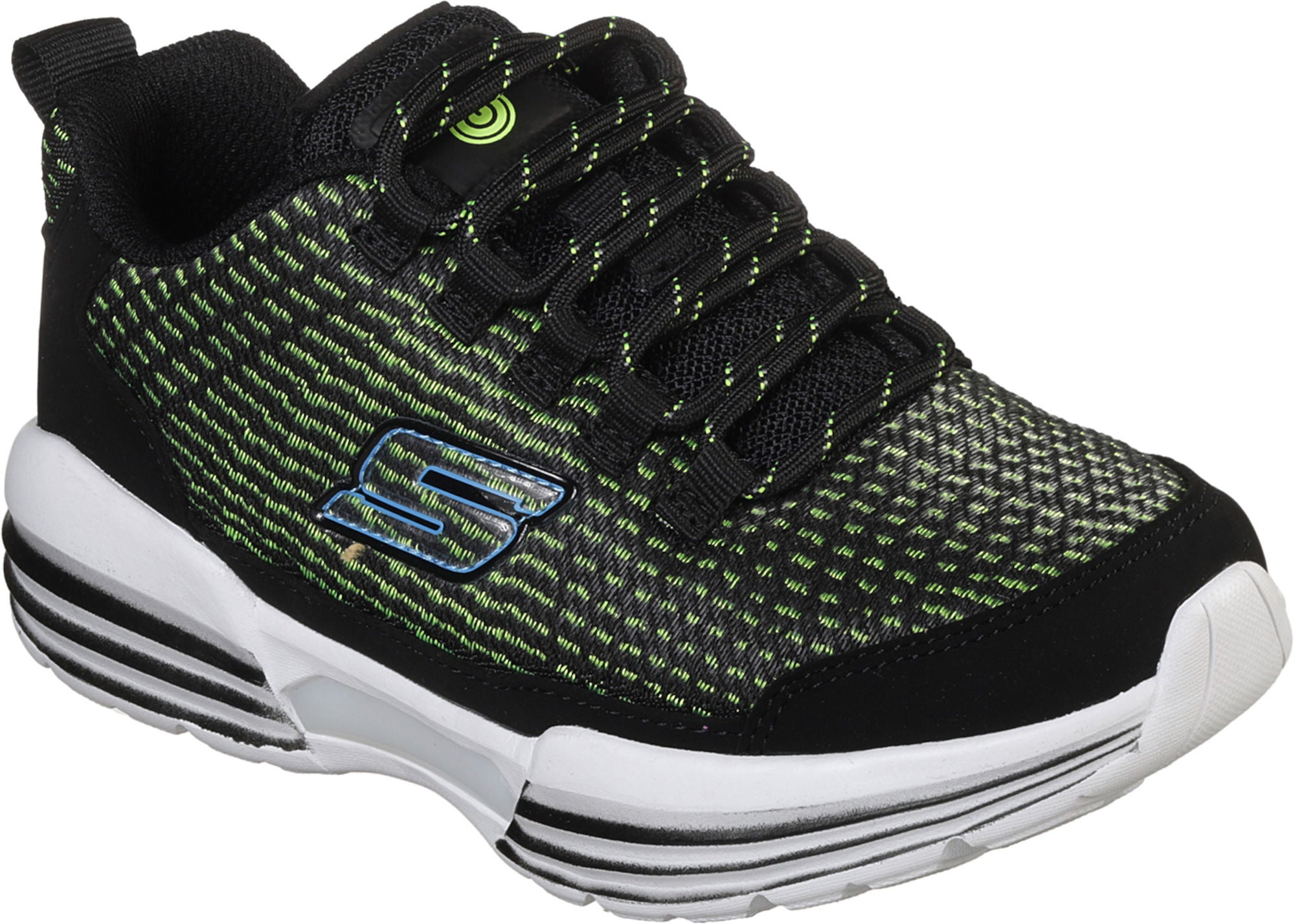 Skechers Hidden Lights Sneakers, Black/Lime 32