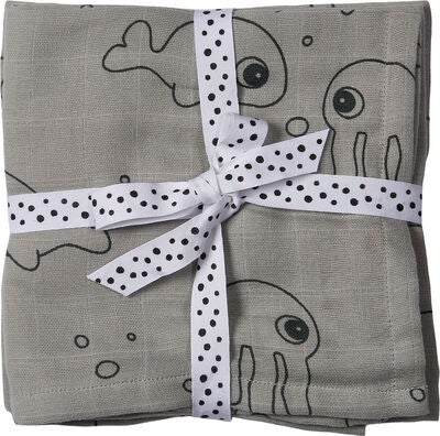 Done By Deer Pledd Sea Friends 70x70 2-pack, Grey