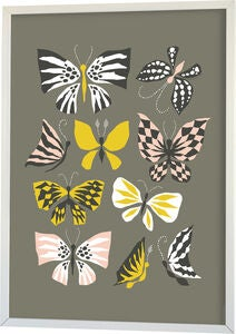 Littlephant Poster Graphic Print Butterfly Family 50x70, Grey