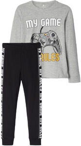 Name it Gamer Aske Pyjamas, Grey Melange