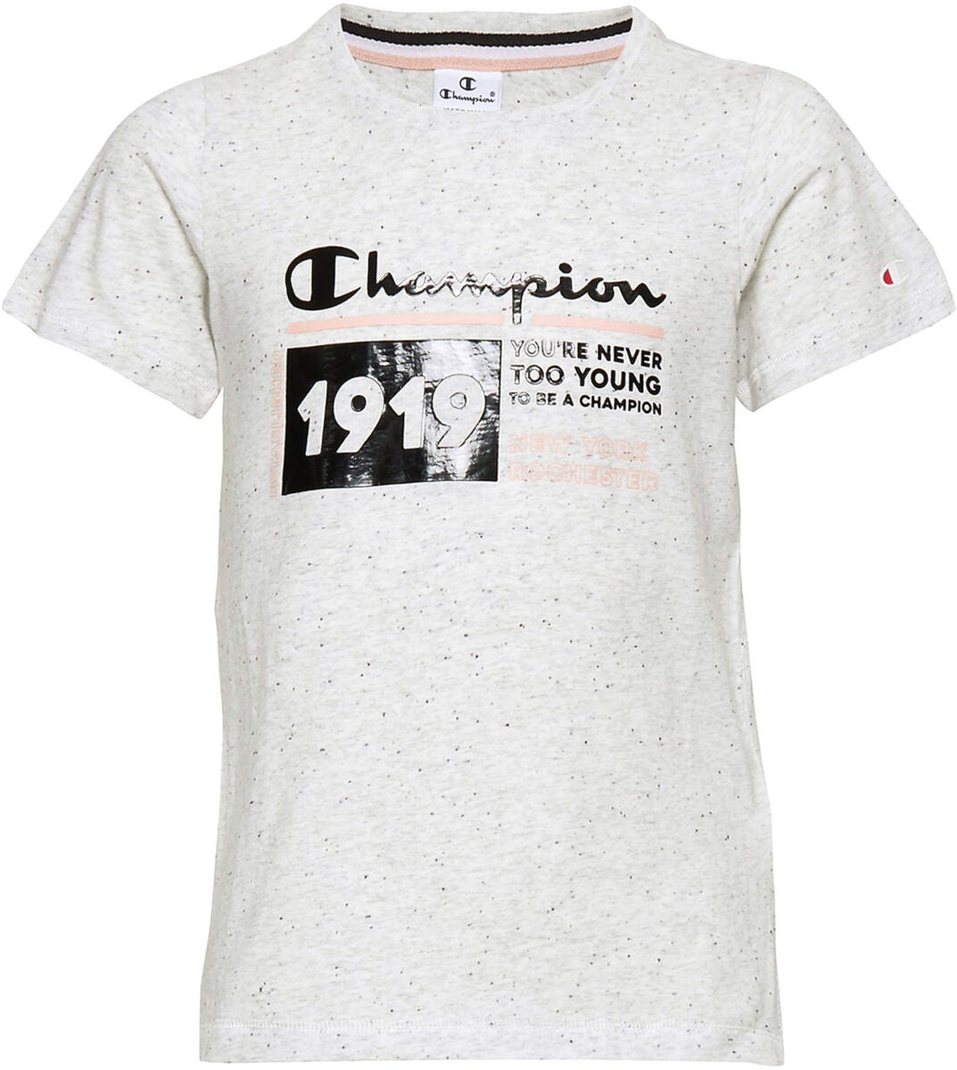 Champion Kids Crewneck T-Shirt, Light Grey Black Dots Melange