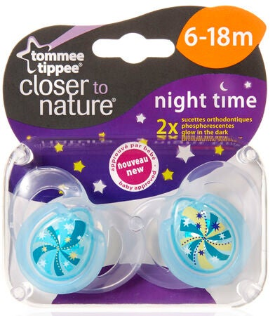 Tommee Tippee Smokk Night Time 6-18 mnd 2-pack Turkis Spiral