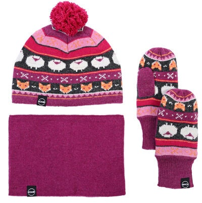 Kombi Vintersett The Fox Fair Isle, Magenta Mix