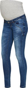 Mamalicious Globe Slim Jeans, Dark Blue Denim