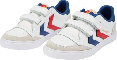 Hummel Stadil Jr Leather Low Sneaker, White/Blue/Red/Gum