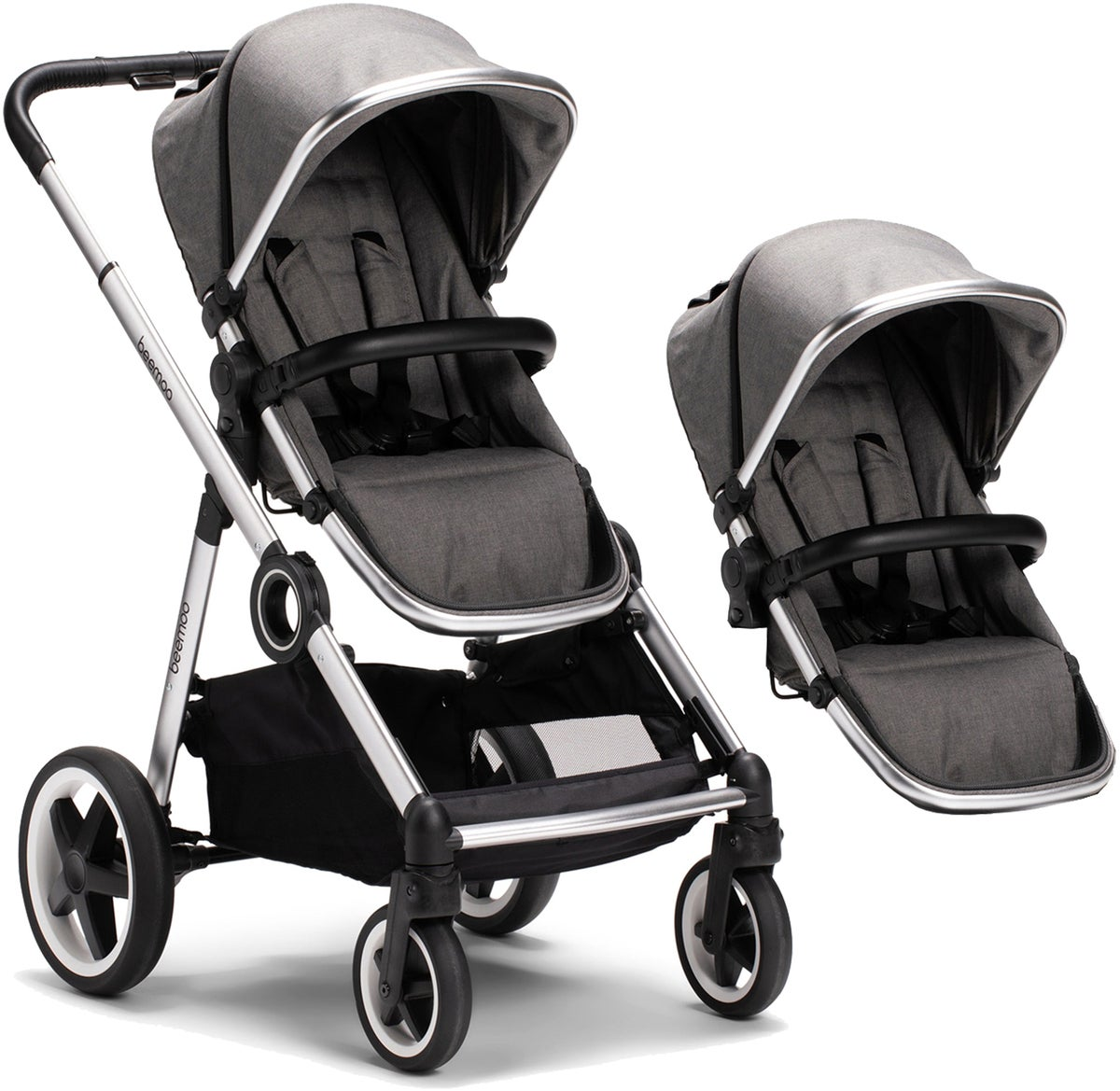 Beemoo Twin Travel+ 2020 Søskenvogn, Dark Grey