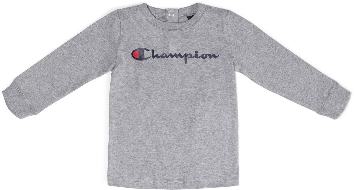 Champion Kids Langermet Crewneck T-Shirt, Gray Melange Light