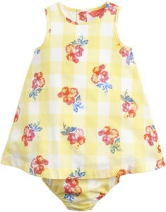Tom Joule Kjole & Truse Sett, Yellow Gingham Floral